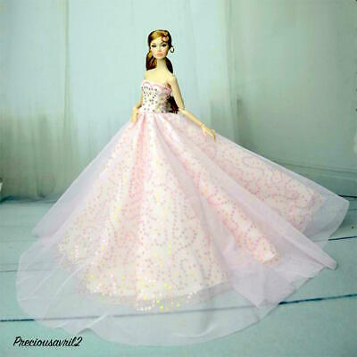Brand new Barbie doll clothes outfit princess wedding dress pink sequinned gown