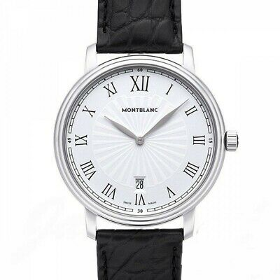 0e1ea7c64 MONTBLANC Tradition Date 112633 Quartz Leather belt White Dial Men's Watch  NEW