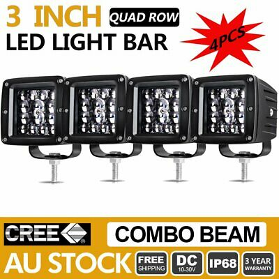 4X 3inch CREE LED Light Bar Spot Flood 4 ROW Driving Lamp Offroad SUV ATV Truck
