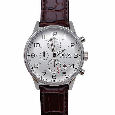 100 New Hugo Boss 1512447 Aeroliner Brown Leather Strap Chronograph Men S Watch