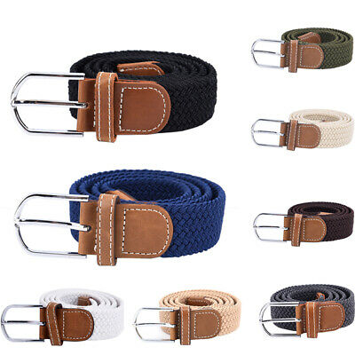 Belt For Men Elastic Waistband Canvas Buckle Braided Mens Woven Stretch Strap EO