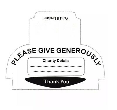 Security Seals/Labels For SQUARE Type Hand Held Charity Money Collection Boxes