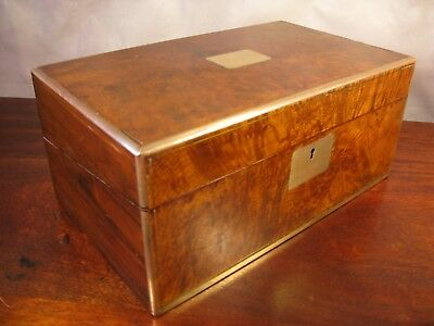 Antique Victorian Vintage Walnut Brass Inlay Desk Writing Slope Cabinet Box 1850