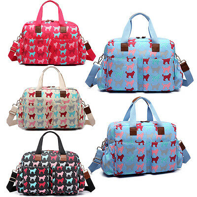 4pcs Mummy Maternity Baby Changing Bag Nappy Diaper Wipe Clean  Dog Print