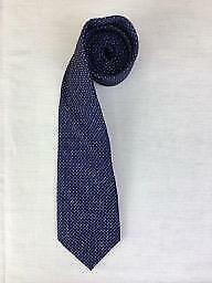 Austin Reed Navy Blue 100% Silk Tie with Pink & White Pin Point Polka Dot Effect