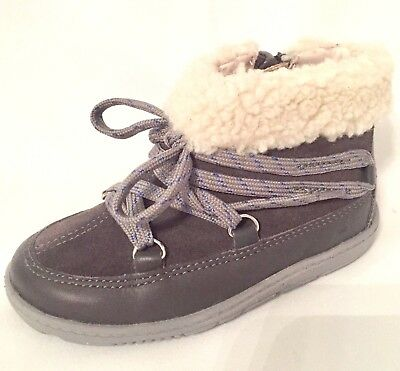 """Clarks baby girls """"MAXI MOON"""" grey leather boots size 6.5G.New"""