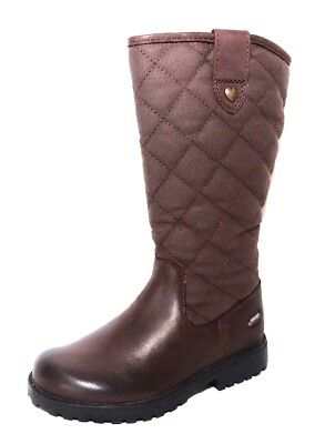 """Clarks Girls """"Rhea Wish GTX """" brown leather and canvas long boots size 7F.New"""