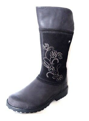 """Clarks """"Rhea Jane GTX """" girls black leather and suede long boots size 7.5F.New"""