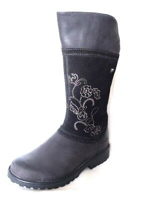 """Clarks """"Rhea Jane GTX """" girls black leather and suede long boots size 7G.New"""