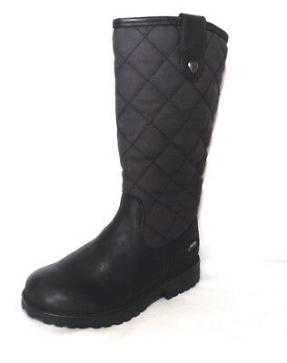 """Clarks Girls """"Rhea Wish GTX """" black leather and canvas long boots size 8G.New"""