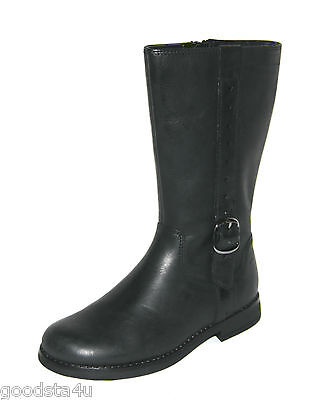 """Clarks """"Gypsy High"""" girls black leather boots size 7F.New"""