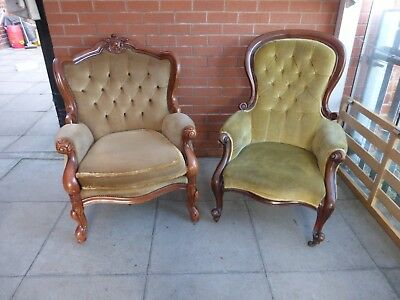 A Pair Of Fabric Chesterfield Style Queen Ann Armchairs