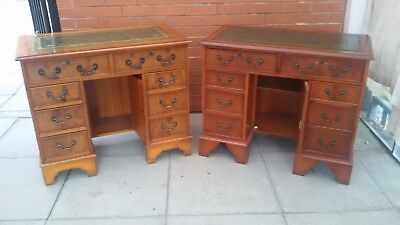 A Pair Yew Green Leather inlay Twin Pedestal Desk ***DELIVERY AVAILABLE***