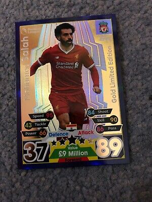 Match Attax Extra 2017/18 Mohamed Salah Gold Limited Edition Le3G Mint