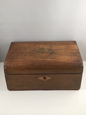 Antique Victorian Tunbridge Ware Box Wooden Marquetry Jewellery Sewing