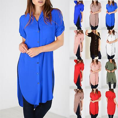New Ladies Crepe Chiffon Baggy Hi Lo Blouse Turn Up Womens Button Shirt Dress