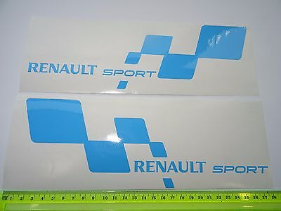 2 x Renault Sport Car Vinyl Decals / Stickers / Graphics Fits Clio Megane RS BLU