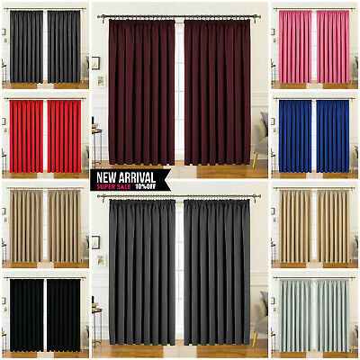 Pair of Extra Wide Thermal Blackout Pencil Pleat TapeTop Window Curtains+Tieback