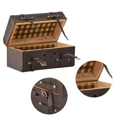 1:12 Doll House Mini Suitcase Luggage Box Miniature PU Leather Wooden Toys Gift