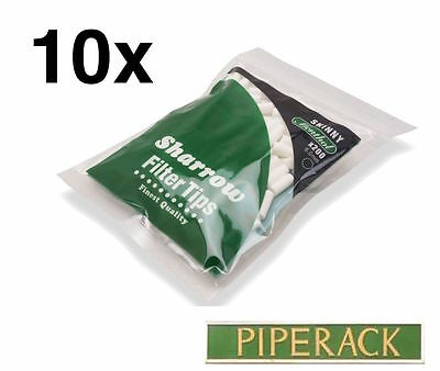 10 Sharrow Filter Tips Skinny Menthol 10 Packets x 200 Filter Tips - New 6.0mm