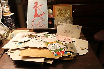 Large Vintage Junk Drawer Lot of Papers Greeting Cards Photos Postcards Letters