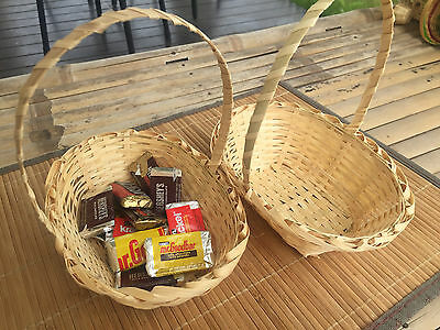 2 Sets of Handmade Vintage woven bamboo Baskets with handle