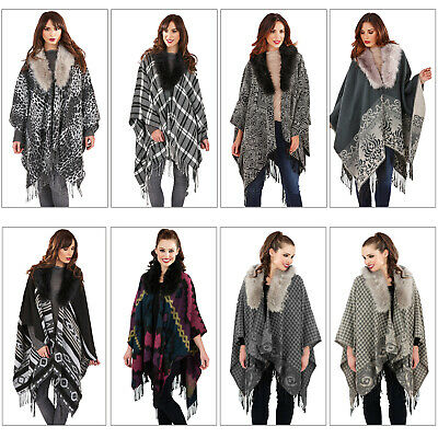 Boutique Womens Detachable Faux Fur Collar Tassel Fringe Knitted Blanket Capes