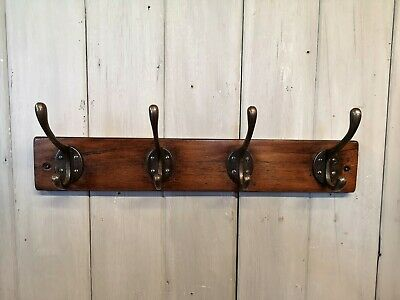 Hand made Vintage Coat Rack with 4 Cast Iron Hooks - Country Chic Artisan Wooden