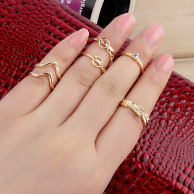 6pc ADJUSTABLE Gold / Silver Stackable Mid Midi Finger Ring Set Size Small boho