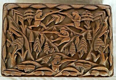 18th Century German Black Forest Antique Folk Art Carved Wood Box Sporting Scene