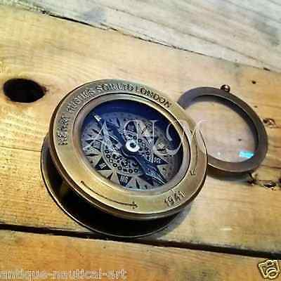 Brass Antique Nautical Compass Flip Out Magnifying Glass Vintage Magnifier Gift