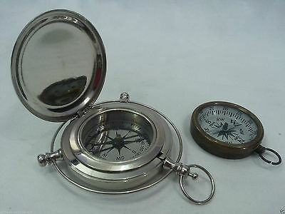 Nautical Old Brass Nickel Compass Marine Antique Compass Set Of Two