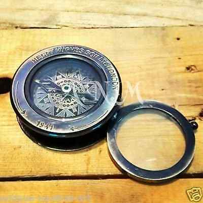 Brass Compass Flip Out Magnifying Glass Vintage Magnifier Antique Finish