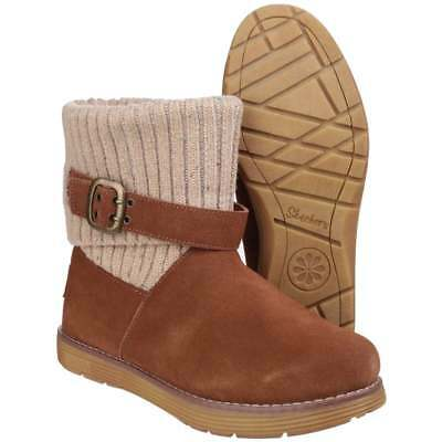 d47ae380b8 SKECHERS ADORBS LEATHER Chestnut Toasty Toes Womens Boots Warm Knit ...