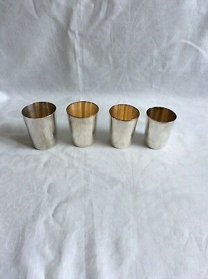 4 Stirrup/Shooting cups, Silver Plate, vintage, James Dixon & Sons, Brooks Bros.