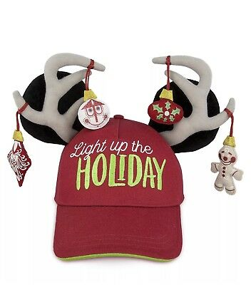 Disney Parks Mickey Mouse/Reindeer Holiday Christmas Light Up Baseball Cap - New