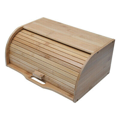 Natural Wooden Roll Top Bread Box Kitchen Food Storage (Bamboo) Storage Rack
