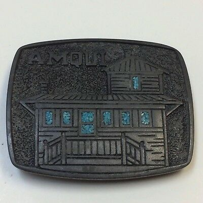 VTG RARE JOHNNY CASH Belt Buckle Amqui Train Station L&N Don't Stop Here Anymore