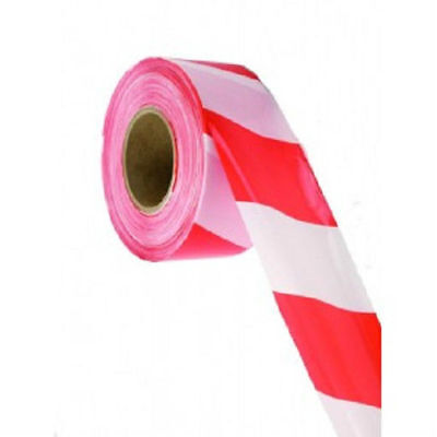 Barrier and Hazard Warning Tape Red & White 500 Metre 70mm Non Adhesive Barrier