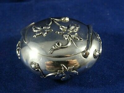 Beautiful Art Nouveau Antique French Solid Silver Rouge/Trinket/Patch Pot, c1880