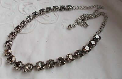 8mm Cup Chain BLACK PATINA/ANTIQUE SILVER Tennis/NECKLACE-Swarovski Crystal