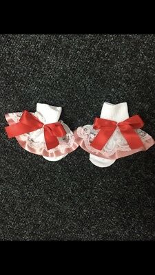 Baby Girls White Frilly Socks With Pink Ribbon & Red Bow Size 0.0 (0-6 Months)