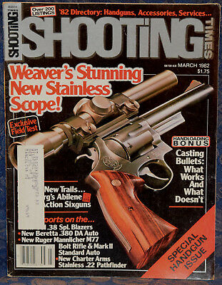 Magazine SHOOTING TIMES, Mar 1982 CHARTER ARMS Stainless Pathfinder .22 REVOLVER