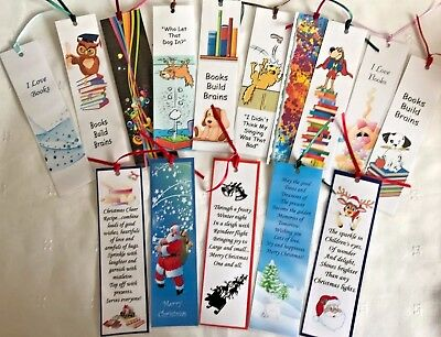 Single Handmade Laminated Bookmark In 15 Designs With Christmas Children & Funny