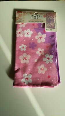 DAISO Japanese Traditional Thin Cloth TENUGUI Cherry blossoms  purple&pink