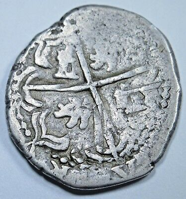 1600's Spanish Silver 2 Reales Piece of 8 Real Colonial Cob Pirate Treasure Coin