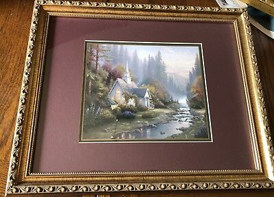 """The Forest Chapel Framed Lithograph By Thomas Kinkade; Frame 16.25""""x13.25"""""""
