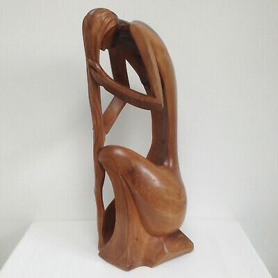 Signed Mid Century Modern Luis Anibal Potosi Suarez Female Wood Carved Sculpture