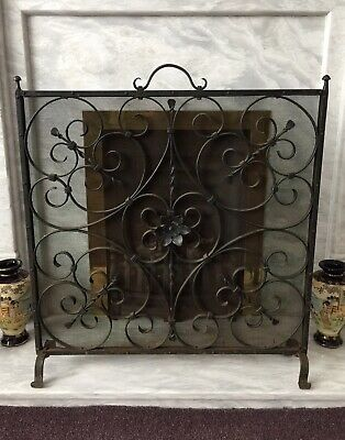 """Vintage Ornate Iron Fire Screen with Central Flower Detail (25.5""""W x 28""""H)"""
