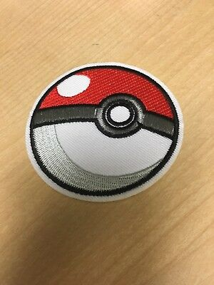"""Pokemon Pokeball Embroidered Iron/Sew ON Patch Cloth Applique 2 7/8"""" in Diameter"""